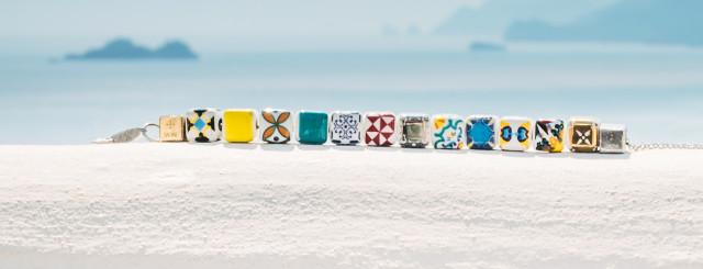 Dadini bracciali componibili con i colori della costiera amalfitana. Angelo Fusco Gioielli Rivenditore ufficiale ad Amalfi.